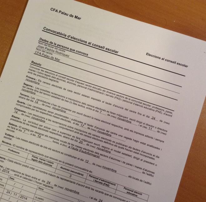 Convocatòria d'eleccions al consell escolar 2014