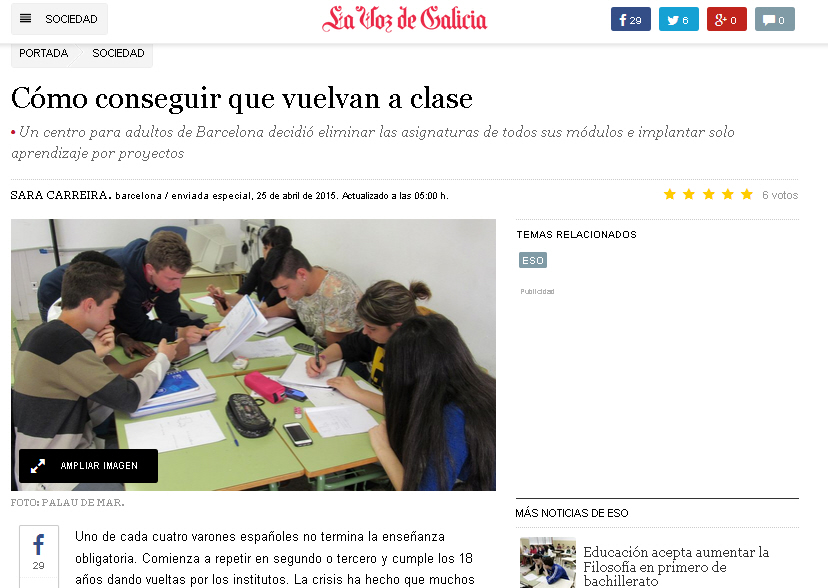 Fragment de l'article publicat a La Voz de Galícia